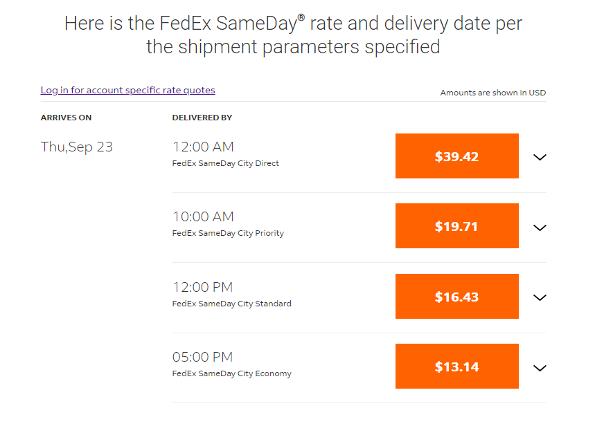 FedEx pricing for same-day fulfillment service