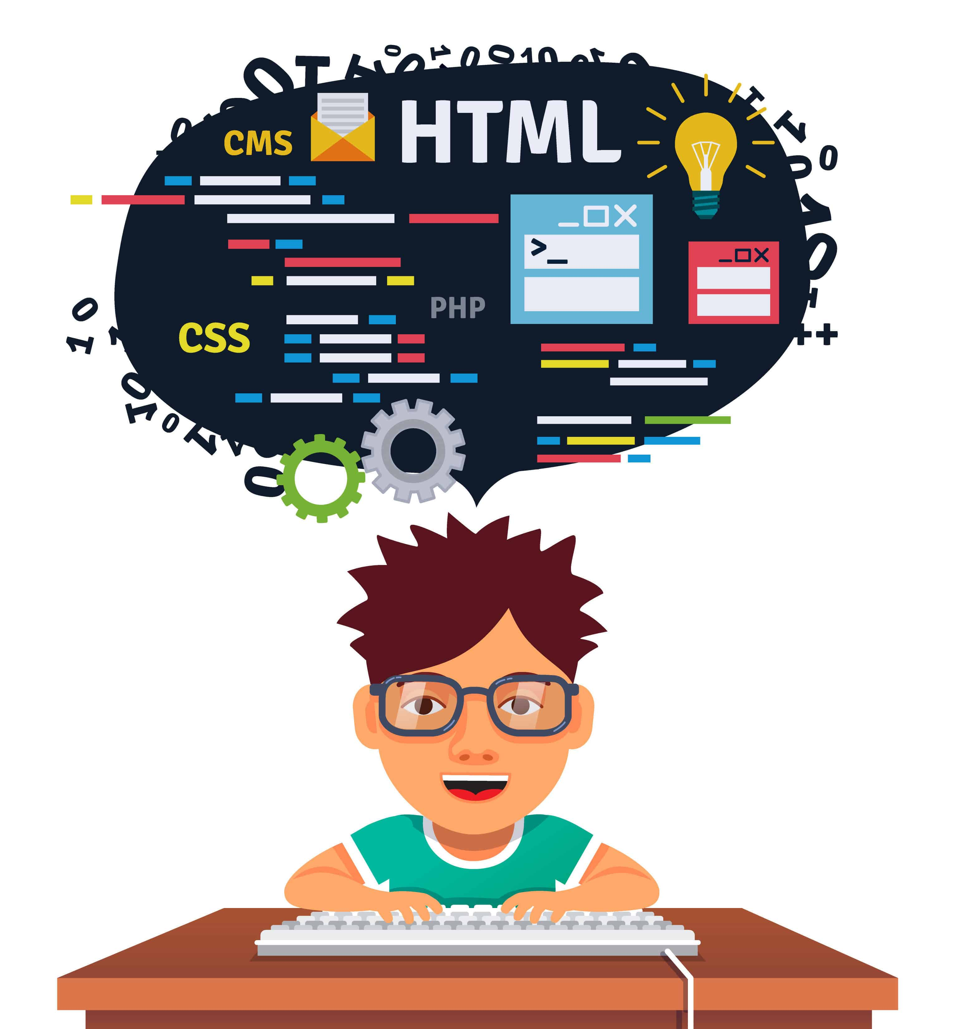 kids learning HTML CSS CMS