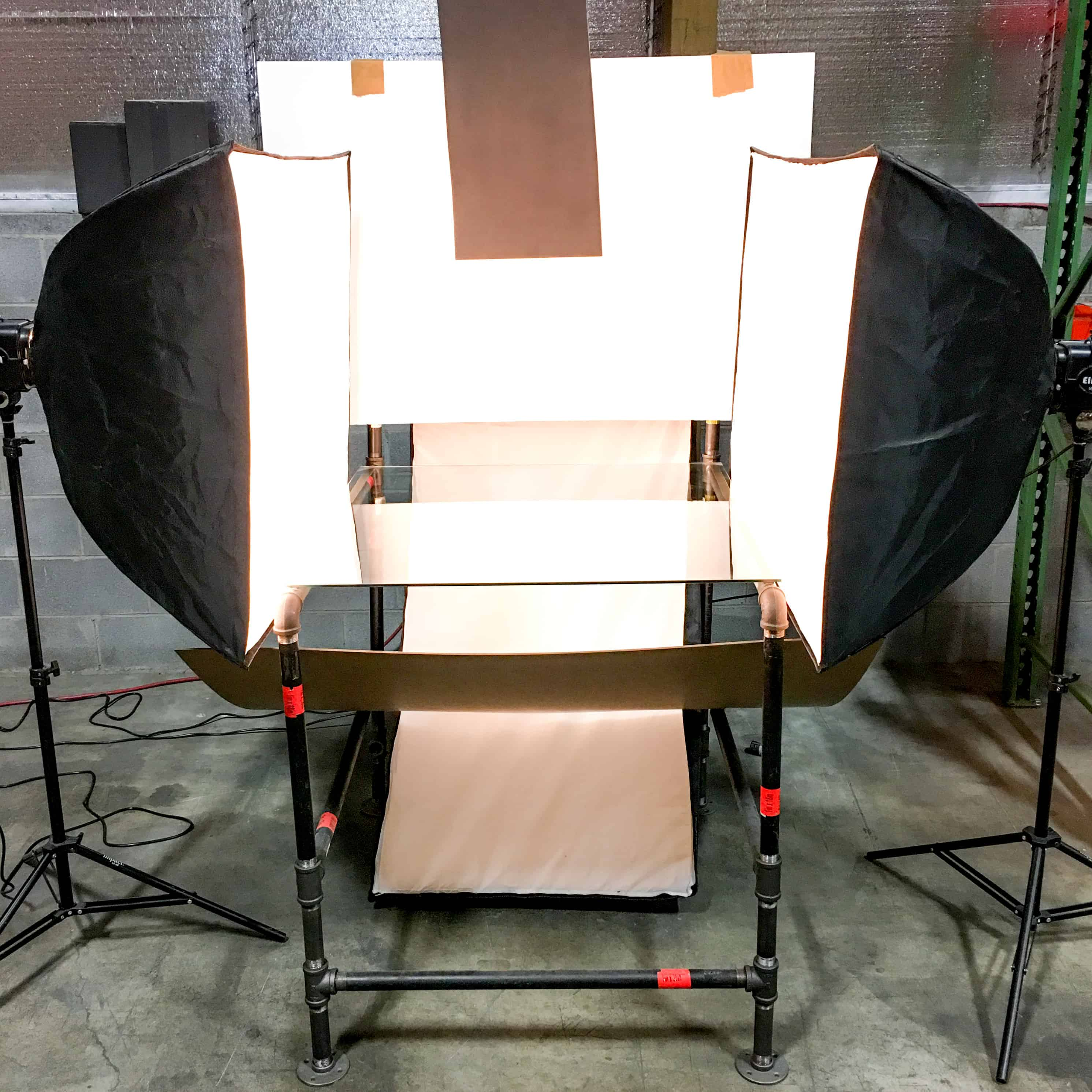 A typical DIY photo table setup and lighting elements.