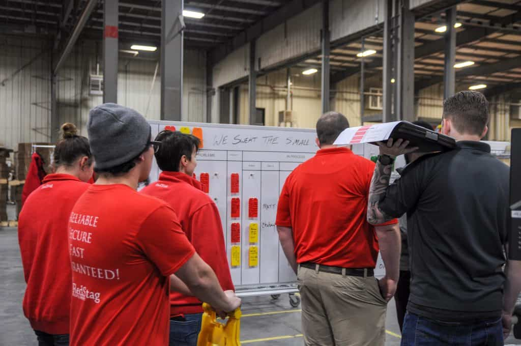 Problem board at a Red Stag Fulfillment center