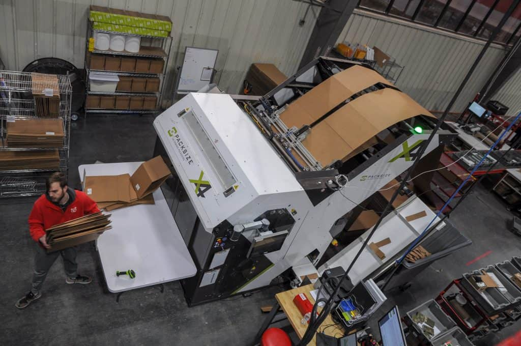 Packsize custom boxing machine, Red Stag warehouse