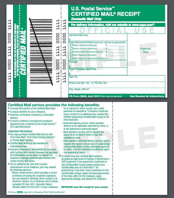 USPS certified mail form 3800