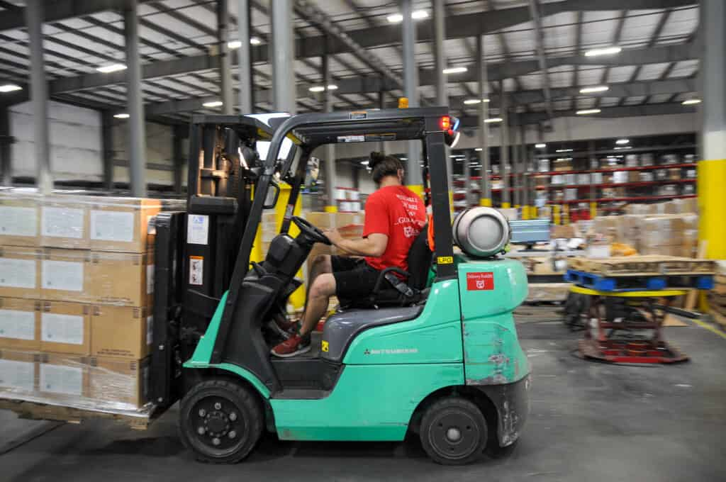 moving stock with a forklift