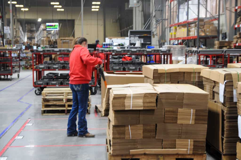 pallets of boxes at Red Stag Fulfillment
