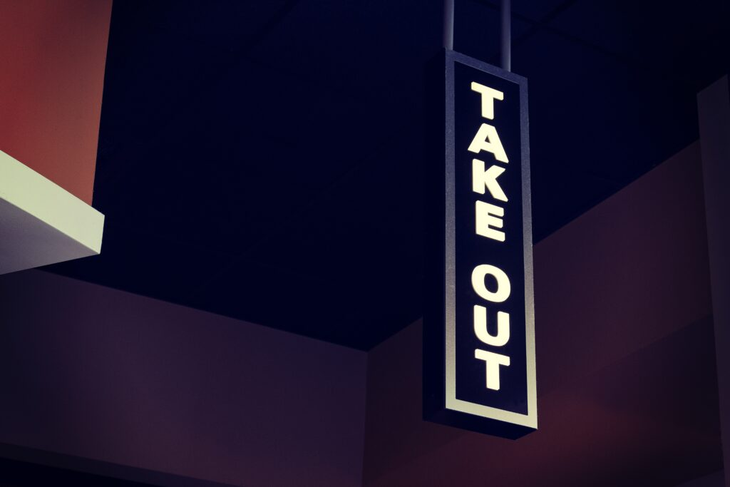 takeout sign